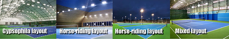 Tennis court lighting layout