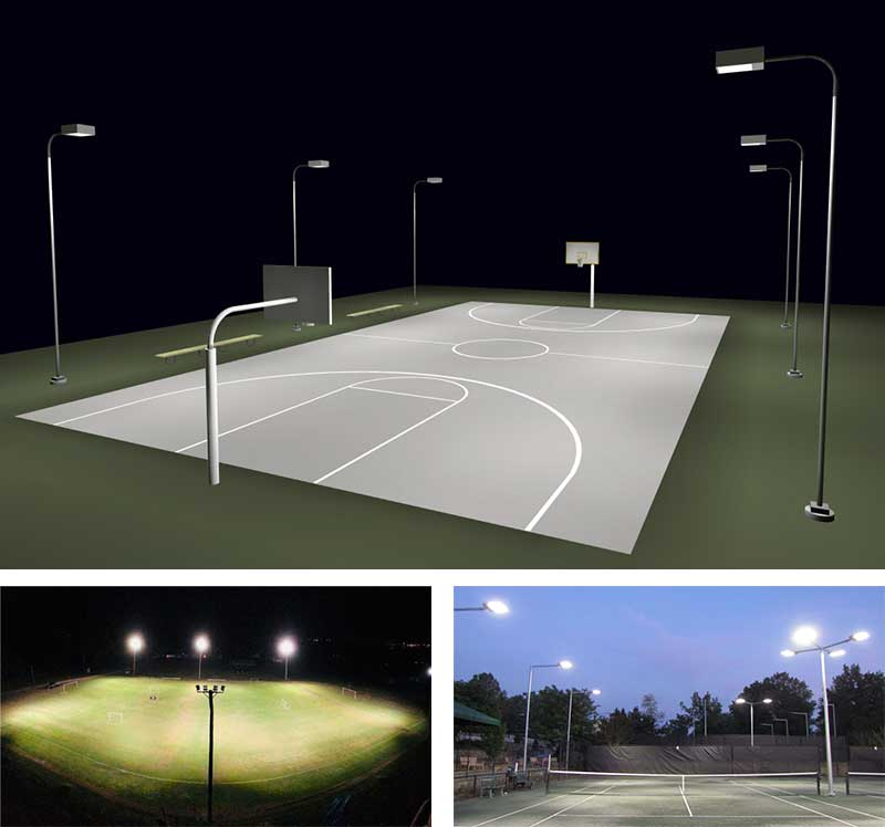 outdoor basketball court lighting design