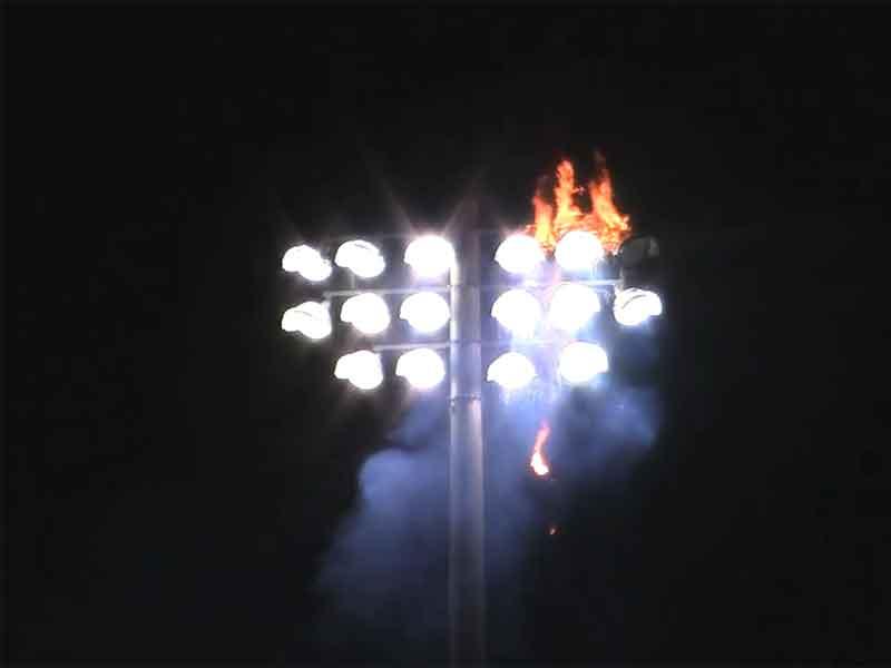 stadium lights set bird nest on fire