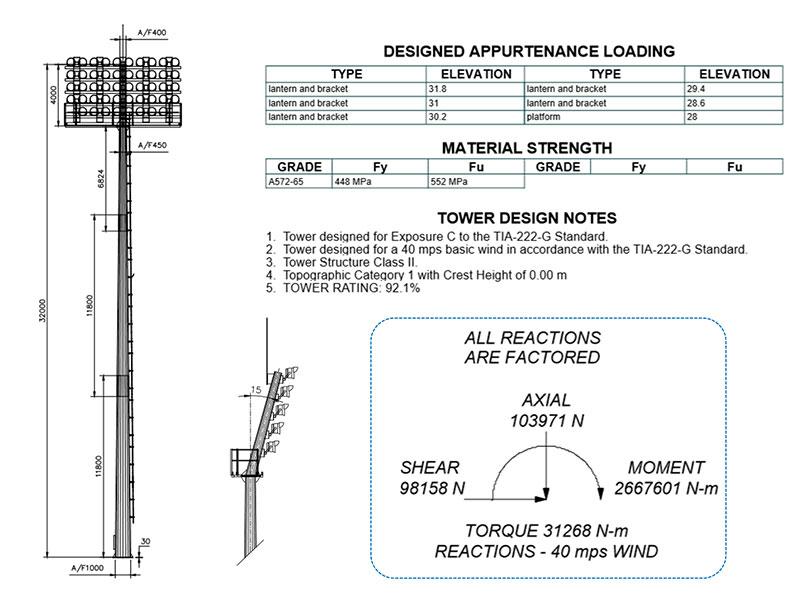 football stadium high mast light pole design