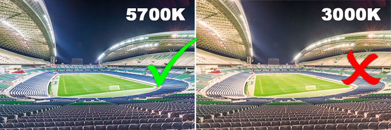 football stadium lights color temperature standard