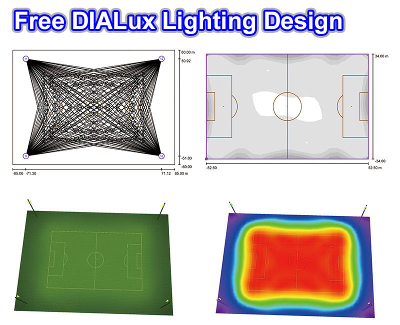 mecree led free dialux football stadium lighting design